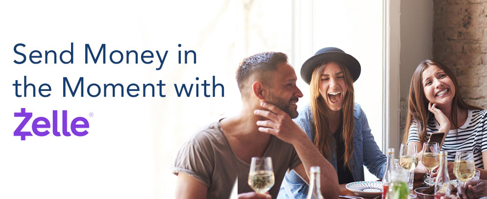 AMG Bank's Zelle - send money in the moment - three smiling people