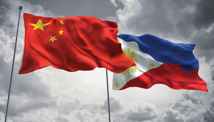 chinese flag and phillipine flag illustrating relationship between two countries