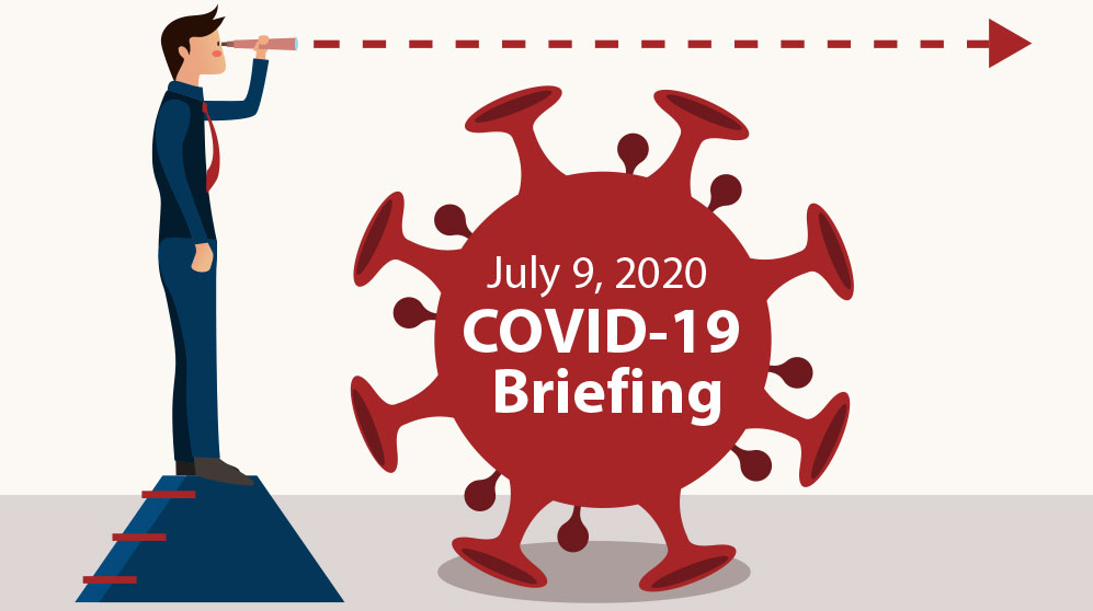 July 9 AMG webinar: COVID-19 & government spending: man looking into future over COVID spore