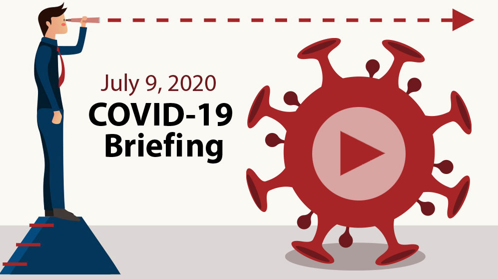 AMG webinar: COVID-19 & government spending - man looking into future over COVID spore - graphic with video play button