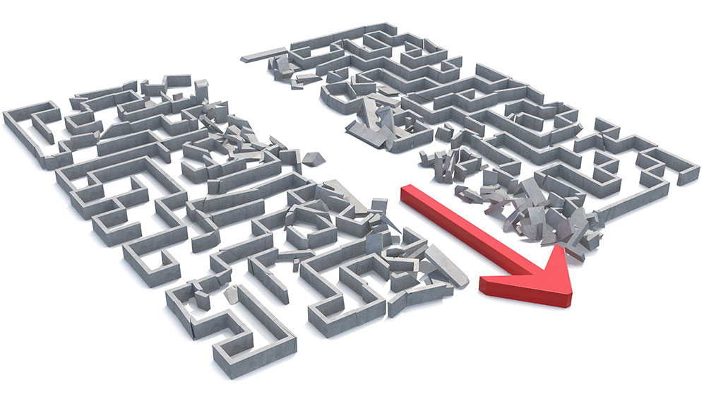 Cutting Through Uncertainty: Looking Beyond the Election - 10/27 Webinar - illustration of cutting through a maze
